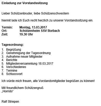 Einladung der Vorstandssitzung am 13.03.17